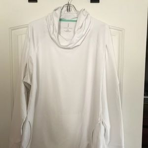 Land End plus size hoodie, 2X, white, gently worn